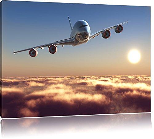 Flugzeug Format: 100x70 cm auf Leinwand, XXL riesige Bilder fertig gerahmt mit Keilrahmen, Kunstdruck auf Wandbild mit Rahmen, günstiger als Gemälde oder Ölbild, kein Poster oder Plakat