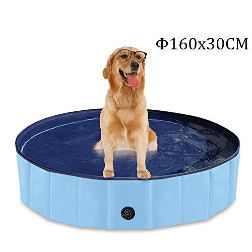 YAOBLUESEA Canottiera per Cani, 160x30CM Canottiera per Animali Domestici Pieghevole Piscina Anatra -Grande / Blu
