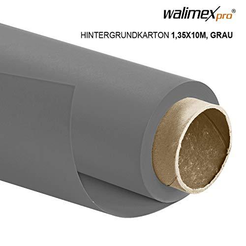 Walimex pro Papierhintergrund grau 1,35m x 10m, Nahtloser Hintergrundkarton, ideal für Fotografie, Video, Portrait, für Hintergrundsystem, Fotohintergrund, Studiobedarf und Fotostudiohintergrund