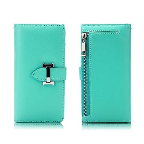EKINHUI Case Cover Premium PU-Leder-Magnetverschluss-Muster Schutzhülle-Kasten mit Kartenschlitzen u. Reißverschluss-Beutel u. Abnehmbare rückseitige Abdeckung für iPhone 7 ( Color : Purple ) Green