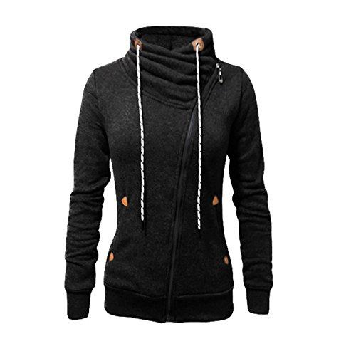 Femme Automne Hiver Col montant Occasionnel Fermeture à glissière ouverte taille Hoodie mode Sweat-shirts Outcoats Cardigan Capuche Noir