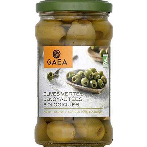 Gaea - Olives Vertes Dénoyautées Biologiques - Le Bocal De 140 G - Vendu par pièce - Livraison Gratuit en France
