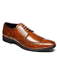 Mens Catesby Black Leather Smart Lace Up Toe Cap Pointed Shoes UK 7-12 Japon