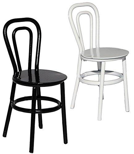 alles-meine.de GmbH 1 Stück _ Stuhl / Bistrostuhl / Gartenstuhl - SCHWARZ - aus Metall - Miniatur / Maßstab 1:12 - für Puppenstube - Gartenmöbel Stühle - Möbel Set Nostalgie - Pu..