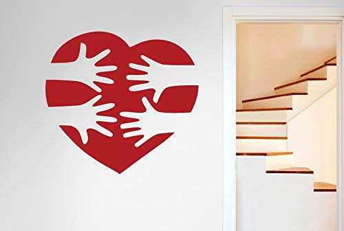 zhuziji Love Heart Vinyl Wall Decal Reaching Hands Pattern Wall Stickers for Kids Room Interior Nursery Removable DIY Home Decor 57x60cm