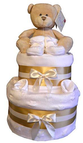 White Star & Gold Design Baby Bundles Bär Spielzeug Baby Bundles Bär, Weiß Decke, Handschuhe & Babyschühchen Musselin Geschenk Babyparty ()