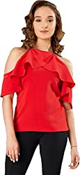 Latest top for women 2018 stylish tops for women under 500 tops for women new fashion 2018 tops below 300 for women a top for women g tops for women western top under 150 rs for women (CRAZY_FASHION_SURAT Womens Crepe Stitched Top (Red) Size: X-Large