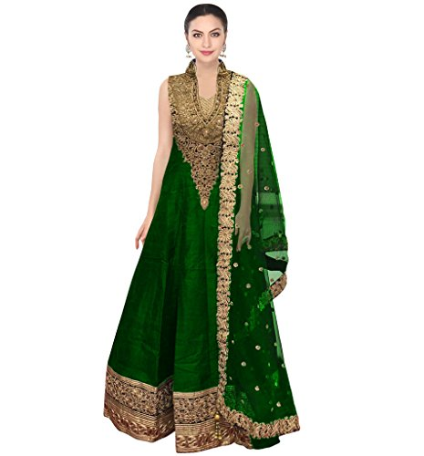 Ramdev Emperio Green Color Fancy & Beautiful Embroidred Raw Silk & Net Semi_Stiched Dress For Women (Wedding Special)