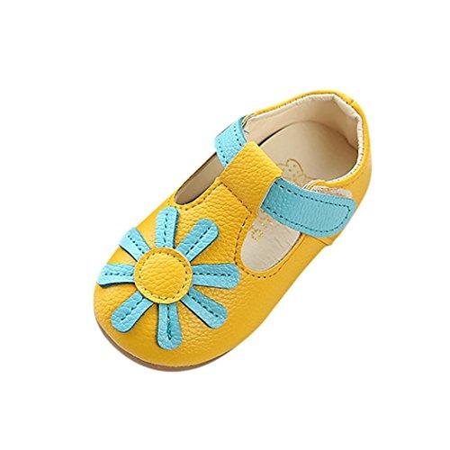 2018 Neue Sandalen Kleinkind Kinder, DoraMe Neugeborenes Baby Mädchen Prinzessinschuhe Sonnenblume Einzelne Schuhe PU Leder Freizeitschuhe Sneaker für 1-6 Jahr (Age:3.5-4J/EU:20, Gelb) Jordan-schuhe Für Kleinkinder Mädchen