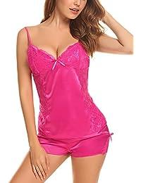 Aibrou Cuello-V Lenceria de Pijamas Mujer Set Atractivo con Cinturones Ajustable de Satén y Encalle,Elegante y Cómoda Para Casa Dormir