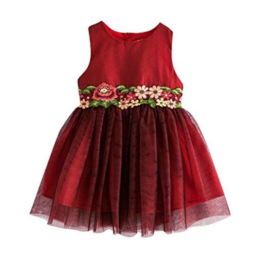 Girl Kostüme Cute Country (Kinder Mädchen Sommerkleid, Bekleidung Longra Blume Mädchen Sommer Prinzessin Kleid Kind Baby Stickerei Hochzeit Spitze Tüll Kleider (2-7Jahre) (130 6-7Jahre,)