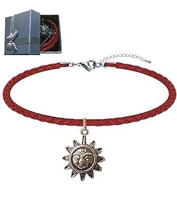 """Bracelet """"Stella"""" Femmes Hommes chaîne cordon cuir tressé - Argent indien pendentif""""étoile"""" bracelet de cheville Nickel Free anti-allergies. Paquet Cadeau"""