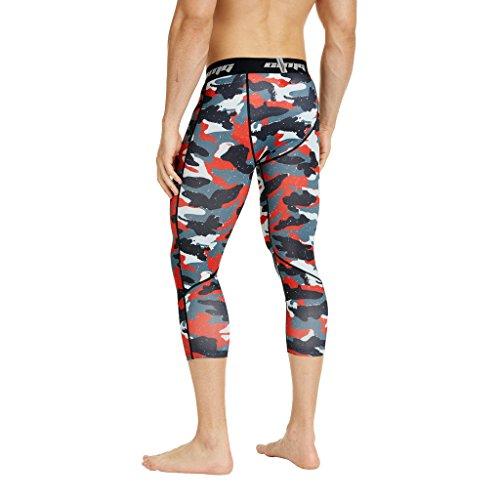 Coolomg compressione pantaloni da corsa a 3/4aderenti pantaloni capri leggings 20+ colori/modelli shorts primo strato, disponibile ad asciugatura rapida per uomo da ragazzo S2-ARD(3/4 length)