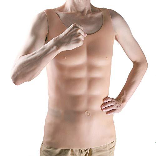 Stripper Kostüm Männlichen Sexy - DABDB Silikon Brust Bauchmuskeln Muskel Reißverschluss Tragbar Fälschung Männlich Muskel Hohe Elastizität Sexy Realistisch Muskel Hemd Tees Persönlichkeit Kleidung Transsexuelle