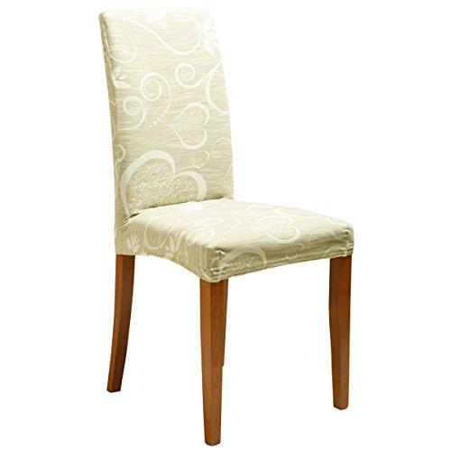 Joker Coprisedia vesti sedia millerighe elasticizzato 2 pezzi linea Cuori L671 SAHARA / BEIGE