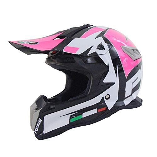 Motocross-Helm Schwarz Und Pink/DOT-zertifiziert Erwachsenen-Motocross-Helm Mit Brillenhandschuh-Maske,3-M