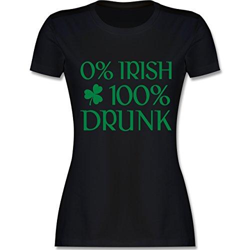 St. Patricks Day - 0% Irish 100% Drunk St Patricks Day - XL - Schwarz - L191 - Damen Tshirt und Frauen T-Shirt
