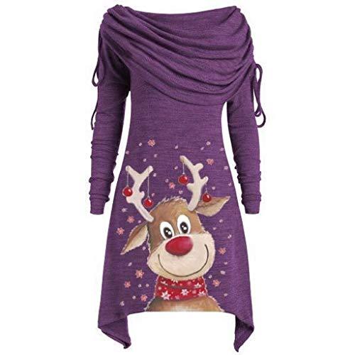 YWLINK Damen Grosse GröSse Umlegekragen Tunika Wasserfallausschnitt Oberteile Frauen Mode Bluse Warm Schalkragen Tops Weihnachten Santa Drucken UnregelmäßIg Elegant Weihnachtspullover Minikleid -