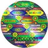 """147Seal Anything cerchio argento con numero di sicurezza ologrammi .79""""(20mm) 3D di adesivi"""