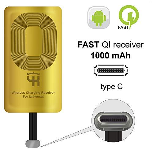 QI Empfänger Typ C für Google Pixel 2 - 2XL - XL - LG V20 - LG G5 - LG Stylo - HTC 10 - Nexus 6P - OnePlus 3-5 - Wireless Charging Empfänger -Pixel QI Receiver Adapter - Wireless Ladegerät Empfänger
