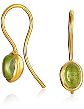 Bling Jewelry 925 Silber August Birthstone Peridot Cabochon Ohrringe vergoldet