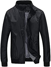 Mochoose Hombre Casual Slim Collar Ligero Chaqueta Chaqueta Impermeable Impermeable Zipper Outerwear