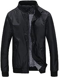 Mochoose Veste Classique Blouson Imperméable Bomber Zip Manches Longues Jacket Rétro Homme