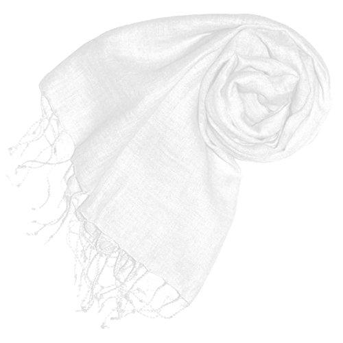 Lorenzo Cana Damenschal Schal Tuch Leinenschal 65 x 175 cm 100% Leinen Cremeweiss Damentuch Schaltuch - 93070