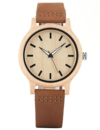 Uniquebella Holz Armbanduhr Ohne digitale Stunden Skala Bambus Uhr Quarzuhr mit Leder Armband