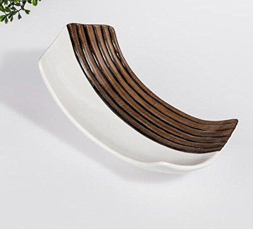 Unbekannt Coque 23 cm Effet Bois + Blanc décoratif en céramique