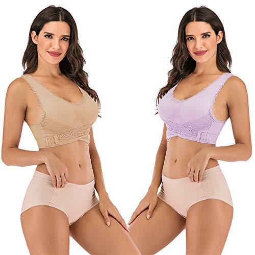 JANSION Damen BH mit seitlicher Schnalle, Spitze und Bralette, abnehmbar, gepolstert, Yoga, Lounge-BH, Bustier, Damen, Beige/Violett, Small - 2