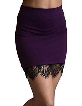 Sábana bajera ajustable de concha de la mujer dobladillo ganchillo encaje Mini falda, cintura alta falda lápiz...