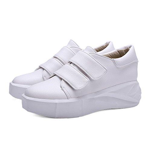 VogueZone009 Femme Pu Cuir à Talon Correct Rond Couleur Unie Velcro Chaussures Légeres Blanc