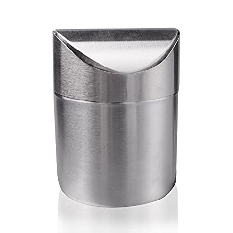 aPerfectLife Mode Mini en acier inoxydable brossé Wave Coque de comptoir recyclage Poubelle Poubelle Garbage Corbeille Idéal pour la cuisine Utilisation de bureau de salle de bain