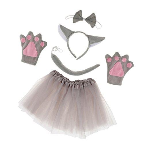 Homyl Mädchen Tier Wolf Kostüm Set Stirnband Schwänze Fliege Handschuhe Cosplay Requisiten (Tier Kostüm Mädchen)