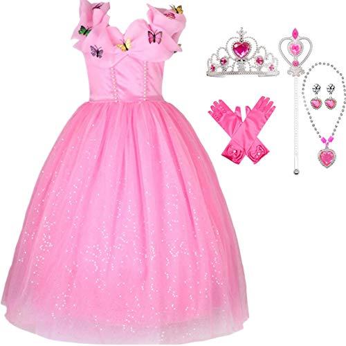 IWFREE Mädchen Kostüme Prinzessin Aurora Dornröschen Verkleidung Faschingskostüm Karneval Cosplay Party Halloween Festkleid Kleider Geburtstag Party - Dornröschen Kleid Kostüm