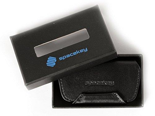 Space Key® Key Organizer aus Leder | Schlüsselmäppchen Leder | simpel und praktisch – kein Werkzeug nötig, keine Kratzer, angenehmes Tragegefühl | Schlüsseltasche Leder-Schlüsseletui (Night Guard) (Leder-schlüssel-schlaufe Schwarze)