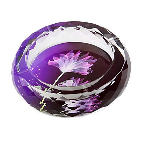 ZXW Cenicero- Cenicero de Vidrio cristalino Europeo/Personalidad Creativa Inicio Cenicero práctico/Adornos Decorativos Regalo de Seis Opcional (ø18cm * H5cm) (Color : Dream Purple Flower)