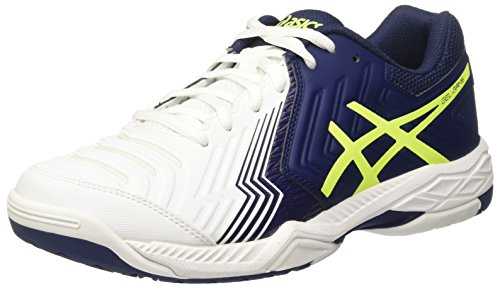 Asics Gel-game 6, Men's Tennis, Multicolor (White/indigo Blue/safety Yellow), 9.5 UK