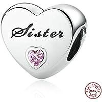MOCCI 2016 Pre-Herbst Schwester Liebe Silber Perlen Pink CZ Passend für Pandora Armbänder 100% 925 Sterling Silber Charms DIY Schmuck