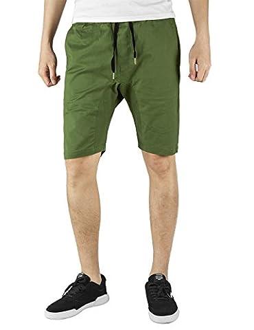 ITALY MORN Men Casual Khakis Joggers Shorts Walk Drop Crotch Cotton Drawstring waist Twill Summer Slim Fit M Olive