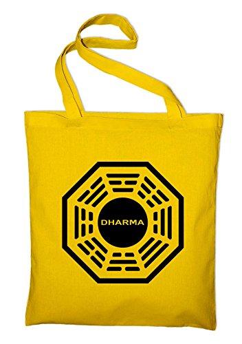Lost Dharma Initiative Logo Jutebeutel, Beutel, Stoffbeutel, Baumwolltasche, red Gelb