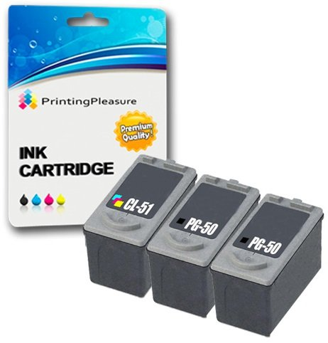 3 Druckerpatronen für Canon Pixma MP140 MP150 MP160 MP170 MP180 MP190 MP210 MP450 MP460 MX300 MX310 iP1600 iP1800 iP1900 iP2200 iP2500 iP2600 | kompatibel zu PG-50 (PG50) CL-51 (CL51) -