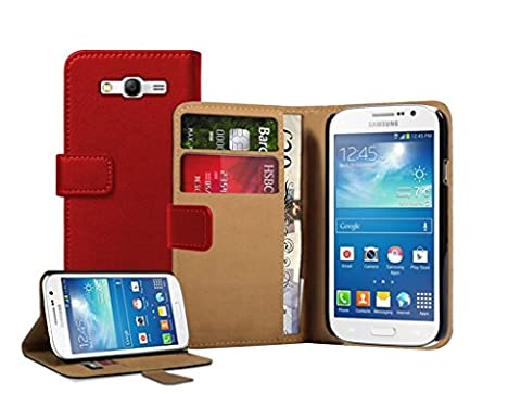 Membrane - Rouge Portefeuille Etui Coque Samsung Galaxy Grand Neo (GT-i9060, GT-i9060DS, GT-i9060L) - Wallet Case Housse + 2 protections d