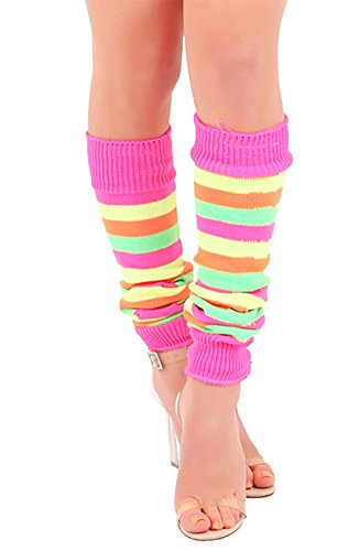 80s Striped Legwarmers for Women