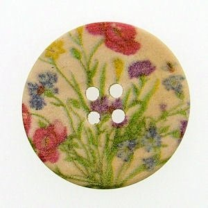 Pack of 10 Lovely Wild Flower Print Patterns, 4 Holes Round Wooden Buttons, for Sewing, Scrapbooking, Embelishments, Crafts, Jewellery making, shabby chic, Knitting, 30mm -