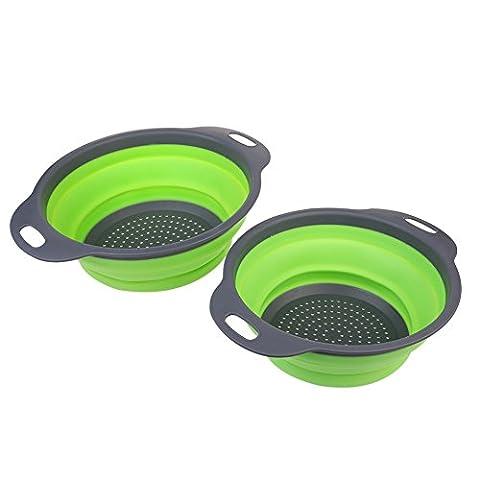 ECHI Kitchen Passoire Rétractable en Silicone Passoire/strainer-includes 2 tailles: 20,3 cm et 24,1 cm (Green)