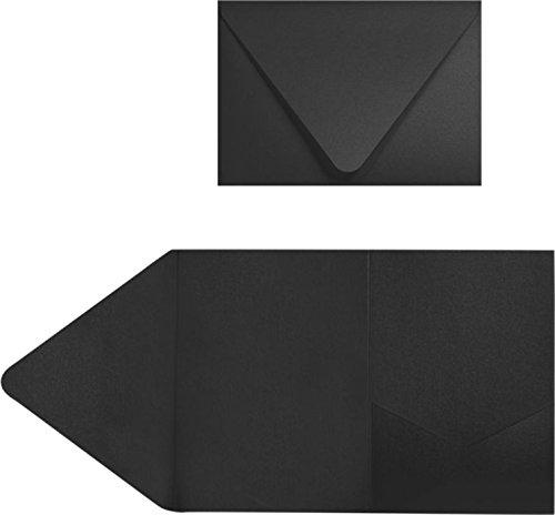 A7Pocket Einladungen (5x 7)-Midnight Schwarz (50Stück) | perfekt für Einladung Suiten, Hochzeiten, Ankündigungen, VERSAND Karten, elegante Events | bedruckbar | ex10-leba712pf-50