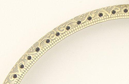 HAND PF12 Tela Bronzo Antico Telaio Portafoglio rotondo - 105 x 55 mm - con incisioni e perforazioni fioriti decorativi e maniglia di chiusura a braccio H0234C