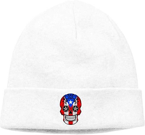 iuitt7rtree Weiche Wollmütze für Herren und Damen, Sugar Skull mit Rosen und Flag of Puerto Rico Beanie Hat -